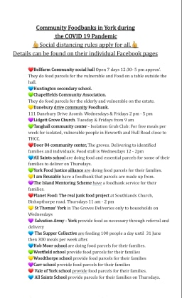 Covid List of commmunity hub